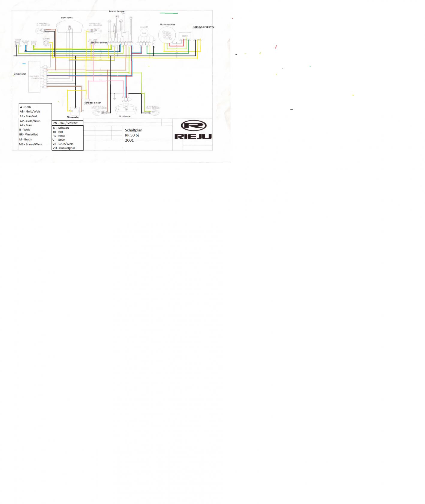Schaltplan für Rieju RR 50 bj 2001 - Elektronikbereich - 2Stroke-Tuning